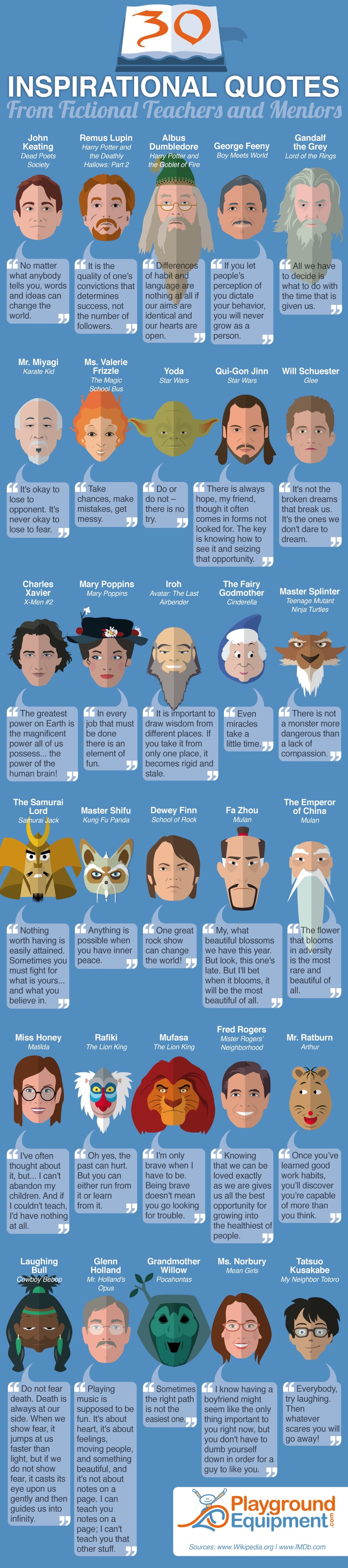 infographic inspirational quotes from fictional mentors